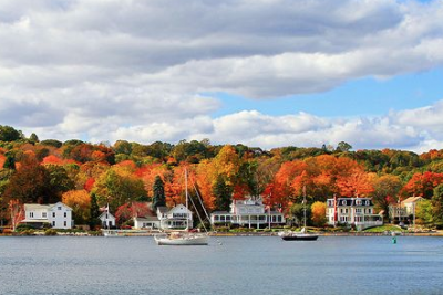 fall foliage and the ocean